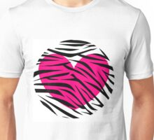 Hot Pink Heart Zebra Striped Circle Unisex T-Shirt