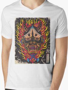Original Watercolor Japanese Hanya Mens V-Neck T-Shirt