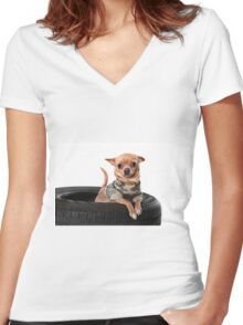 Tire Dog Women's Fitted V-Neck T-Shirt