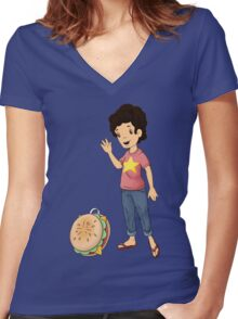 cheese burger backpack Women's Fitted V-Neck T-Shirt