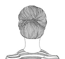 Bun Hair Line Drawing Photographic Print