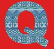 Letter Q Blue Aztec Stripes Pattern Boho Monogram Initial Baby Tee