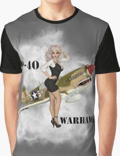 P-40 Pin Up Art Graphic T-Shirt