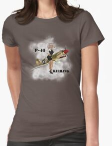 P-40 Pin Up Art Womens Fitted T-Shirt