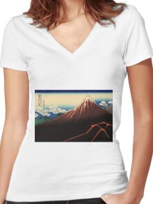 Lightning below the summit - Hokusai - Views of Mount Fuji Print Women's Fitted V-Neck T-Shirt