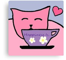 Cat Drinking Tea the Purrfect Cuppa Canvas Print