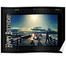 Happy Birthday Card - Evening at the Pier 3 Poster