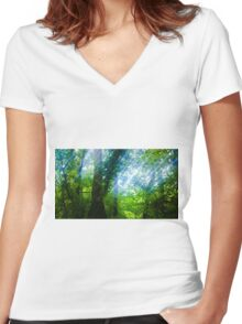 Threads of Forest Light Women's Fitted V-Neck T-Shirt