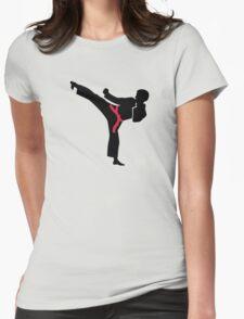Martial arts Karate kick Womens Fitted T-Shirt