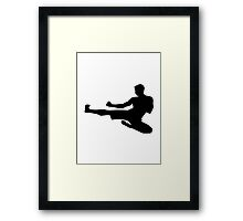 Karate jump kick Framed Print
