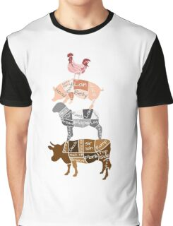 Butcher Diagrams - Labeled - Totem Graphic T-Shirt