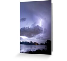 Lake Thunder Cell Lightning Burst Greeting Card