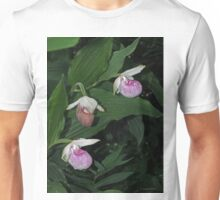 Pink and White Lady's Slipper Unisex T-Shirt