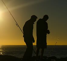 Fishermen at dawn. Currumbin Alley, Gold Coast. by Ann Pinnock