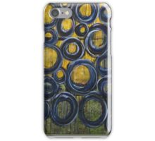 Blue and gold circles iPhone Case/Skin