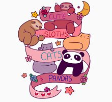 Cute Sloths Cats and Pandas Womens Fitted T-Shirt