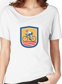 Cyclist Riding Bicycle Cycling Side View Retro Women's Relaxed Fit T-Shirt