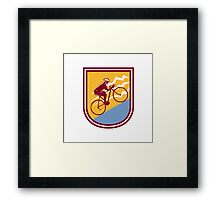 Cyclist Riding Mountain Bike Uphill Retro Framed Print