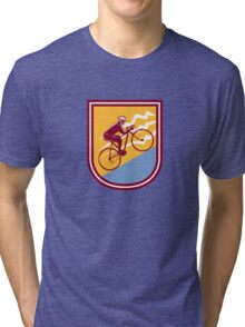 Cyclist Riding Mountain Bike Uphill Retro Tri-blend T-Shirt