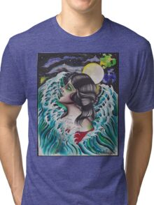 Original Watercolor Painting of Mermaid Woman in the Ocean Tri-blend T-Shirt