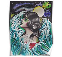 Original Watercolor Painting of Mermaid Woman in the Ocean Poster