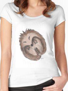 Sleeping hedgehog Women's Fitted Scoop T-Shirt