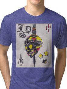 Original Watercolor Painting of Black Skull with Sword Tri-blend T-Shirt
