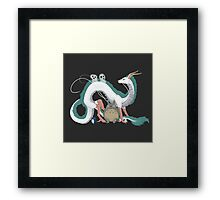 Haku, Totoro, and Tree Spirits  Framed Print