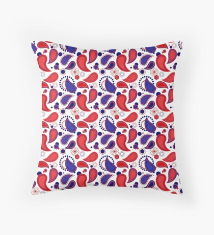 Red, White and Blue USA/UK/France Flag Colors Paisley Print Throw Pillow