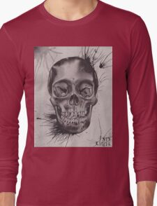 Original Watercolor Painting of Black and Grey Skull Long Sleeve T-Shirt