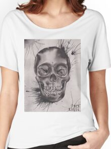 Original Watercolor Painting of Black and Grey Skull Women's Relaxed Fit T-Shirt
