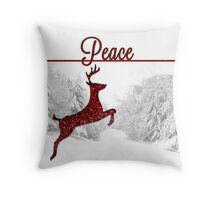 Peace On Earth Reindeer Card Throw Pillow