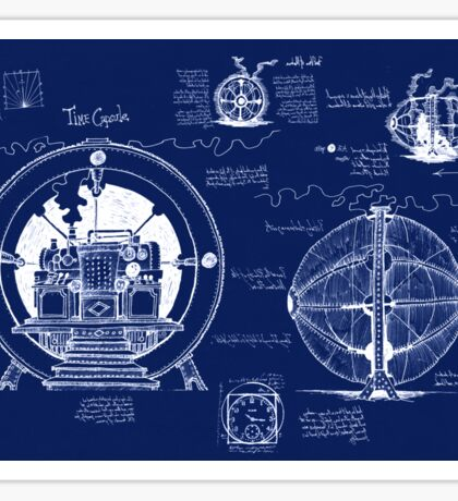 Time Machine Blueprints Sticker