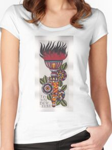 Original Watercolor Painting of Torch with Mandalas Women's Fitted Scoop T-Shirt