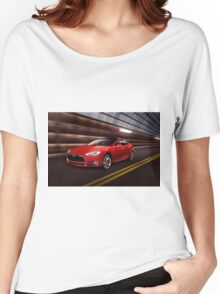 Red Tesla Model S red luxury electric car speeding in a tunnel art photo print Women's Relaxed Fit T-Shirt