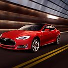 Red Tesla Model S red luxury electric car speeding in a tunnel art photo print by ArtNudePhotos