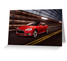 Red Tesla Model S red luxury electric car speeding in a tunnel art photo print Greeting Card