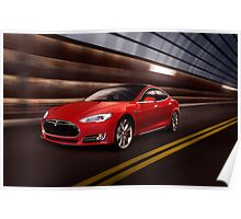 Red Tesla Model S red luxury electric car speeding in a tunnel art photo print Poster