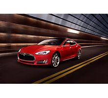 Red Tesla Model S red luxury electric car speeding in a tunnel art photo print Photographic Print