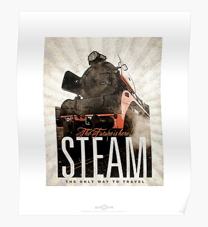 SteamTrain_black Poster