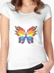 Colorful Butterfly Women's Fitted Scoop T-Shirt