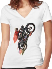 Vintage Cafe Motorcycle Racer 1 Women's Fitted V-Neck T-Shirt