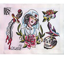 Original Watercolor Tattoo Flash Painting Photographic Print