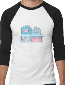 cute blue suburban house Men's Baseball ¾ T-Shirt