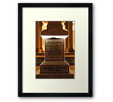 War Memorial-lest we forget Framed Print