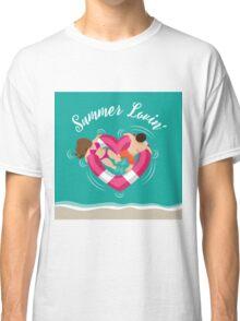 Summer lovin couple in heart shaped inner tube Classic T-Shirt