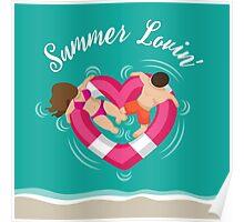 Summer lovin couple in heart shaped inner tube Poster