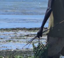 Collecting fishing bait on the reef in Kenya 1 Sticker