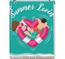 Summer lovin couple in heart shaped inner tube iPad Case/Skin