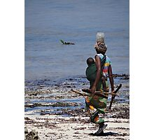 African woman collecting shells 1 Photographic Print